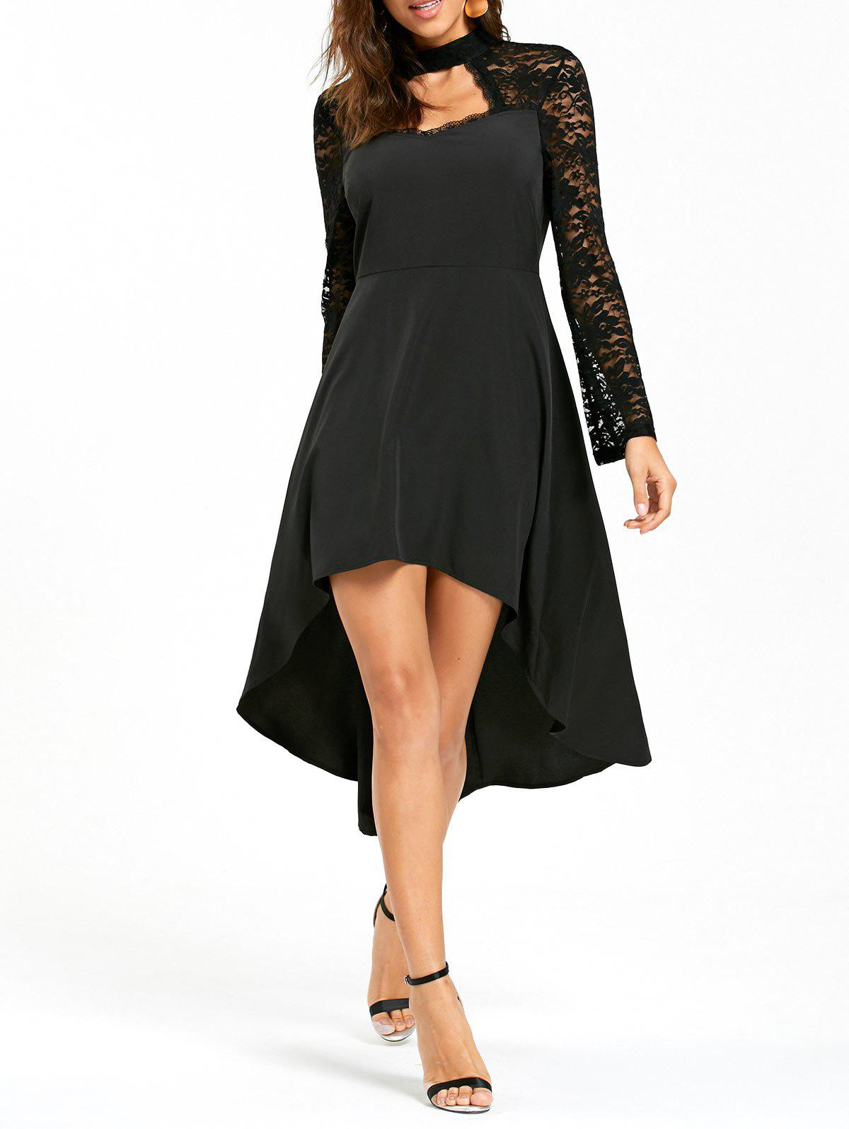 Lace Insert High Low Cut Out Dress - BLACK L