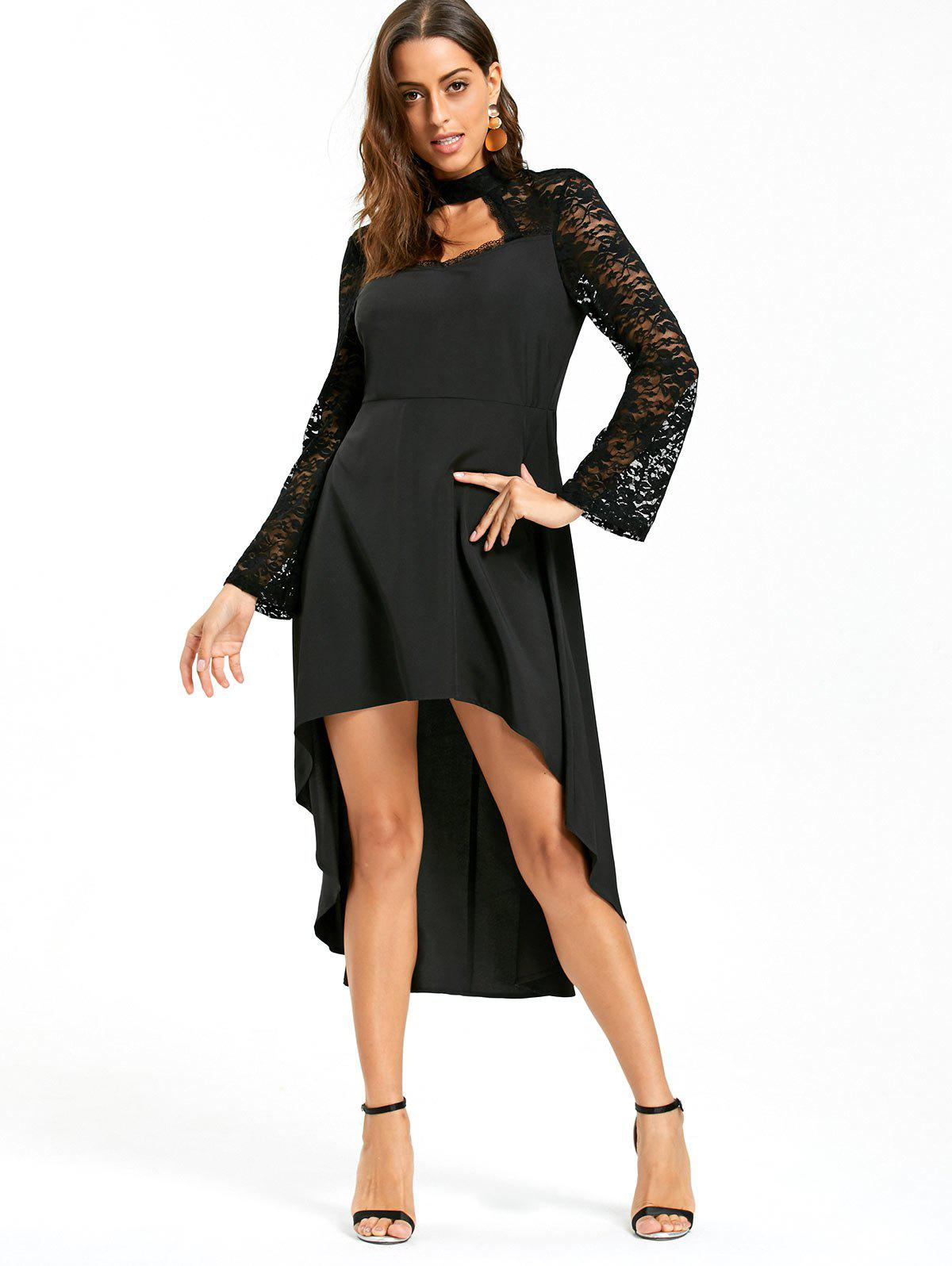 Lace Insert High Low Cut Out Dress - BLACK XL