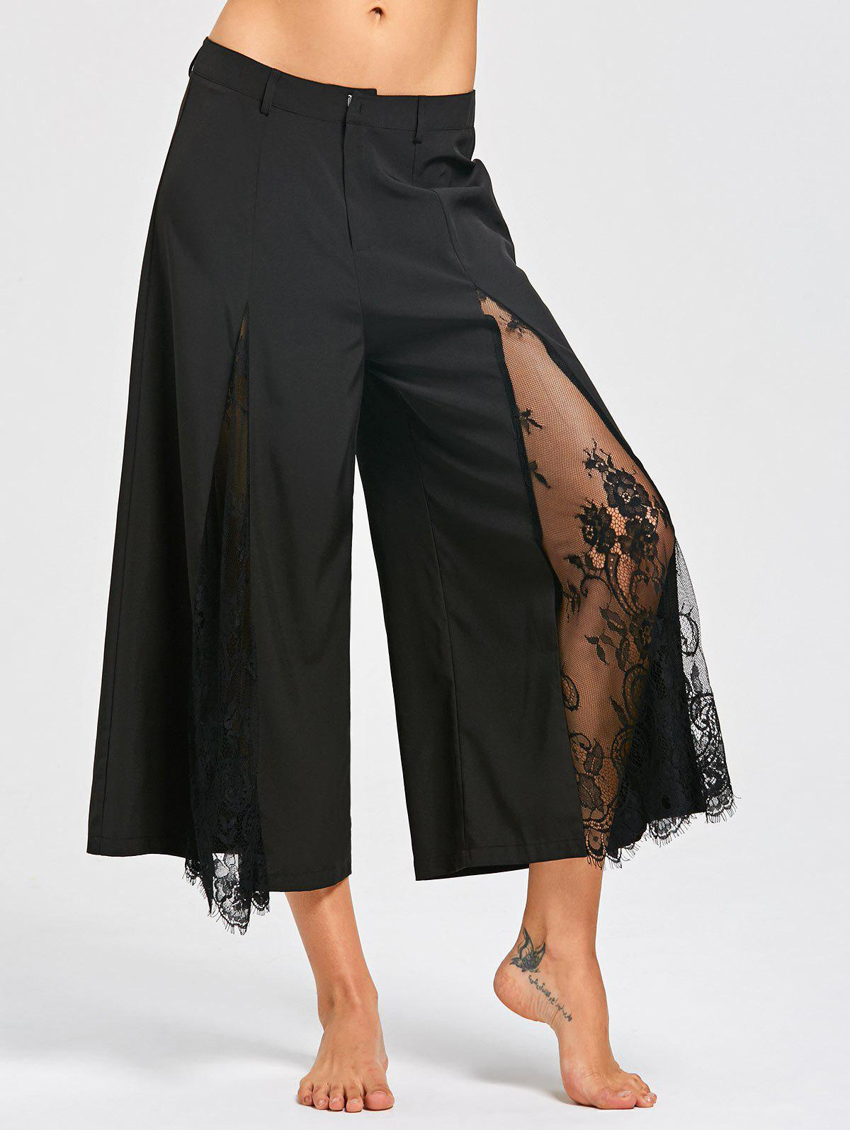 Eyelash Lace Insert Wide Leg Pants - BLACK L