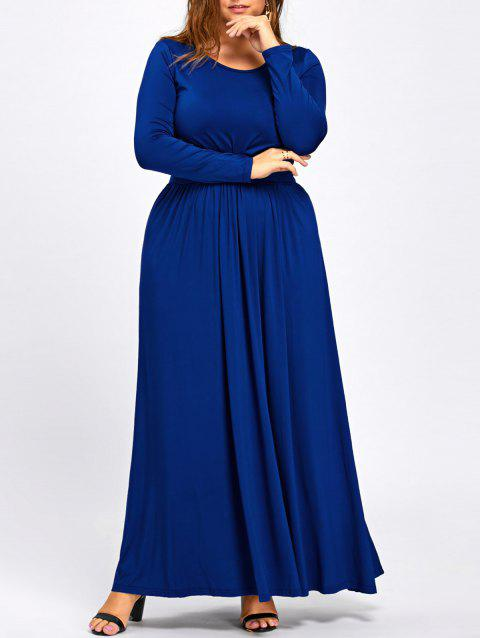 Long Sleeve Plus Size Floor Length Dress - COLOR BLUE 2XL