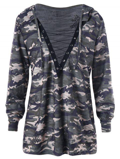 Plus Size Camouflage Lace Up Hoodie - CAMOUFLAGE XL
