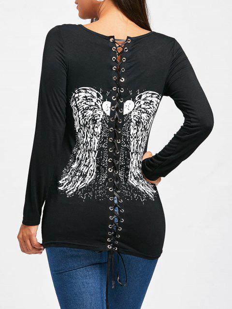 Back Lace Up Wings Print Long Sleeve T-shirt - BLACK M