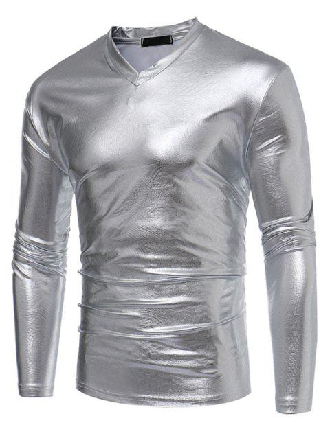 Paisley Fake Leather Metallic V Neck Long Sleeve T-shirt - SILVER L