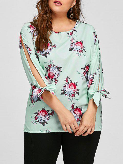 30493c81895 2019 Plus Size Floral Bow Tie Sleeve Blouse In GREEN 3XL