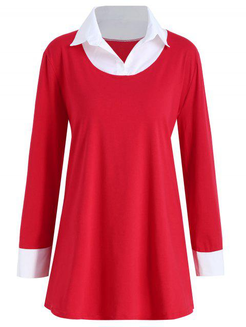 Shirt Collar Plus Size Two Tone Tee - RED 3XL