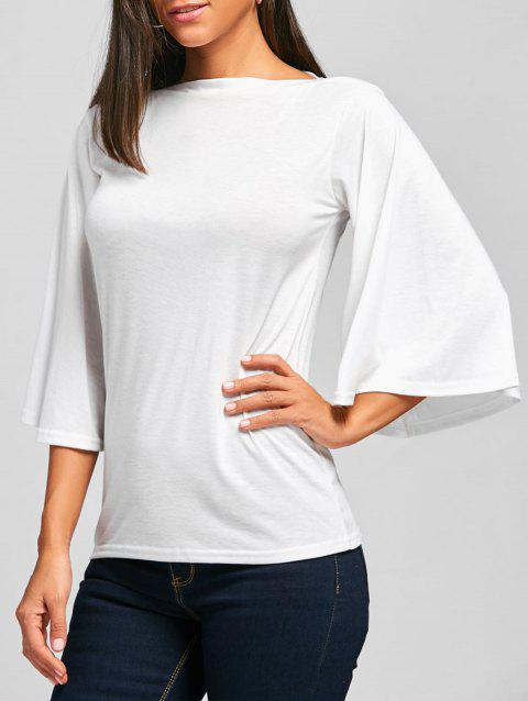 Bell Sleeve Tunic T-shirt - WHITE XL