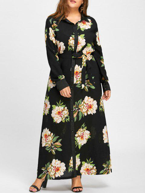 Plus Size Ruffles Floral Maxi Dress with Belt - BLACK 7XL