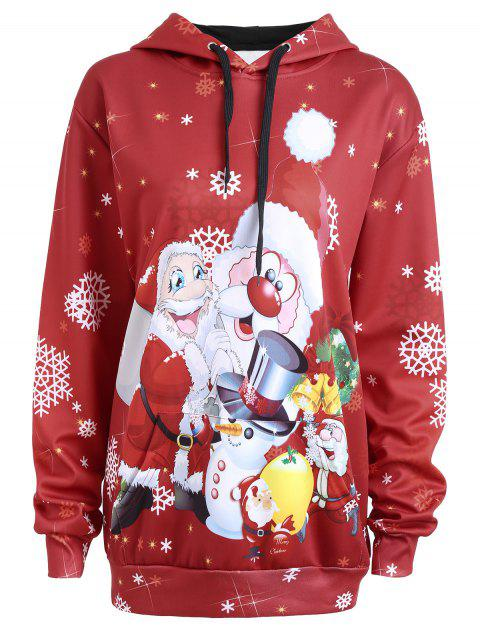 Christmas Santa Claus Snowman Plus Size Hoodie - RED 4XL