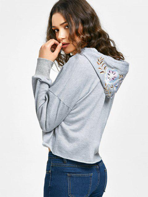Floral Embroidered Cropped Hoodie - GRAY S