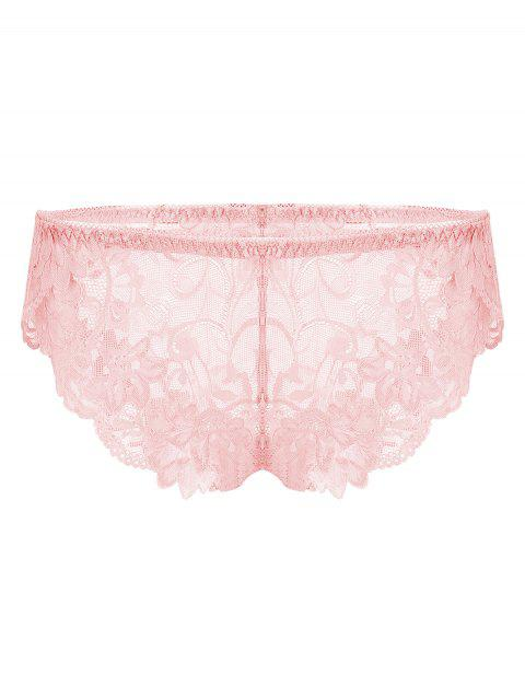 Plus Size Sheer Crochet Lace Panties - PINK 2XL