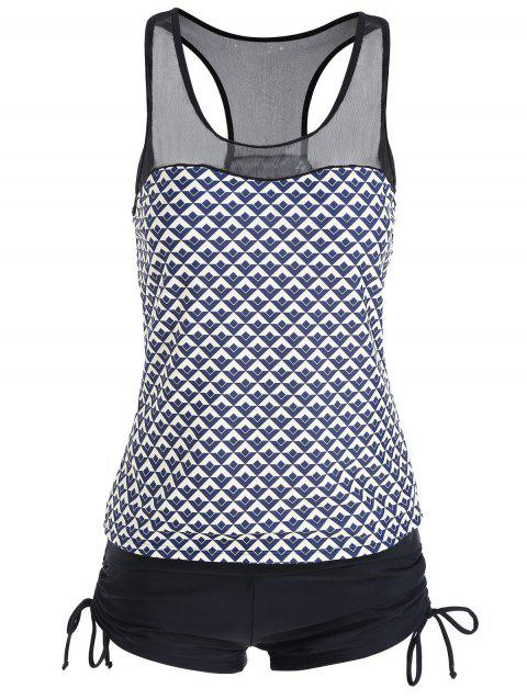 4218f039fe LIMITED OFFER] 2019 Plus Size Racerback Mesh Panel Tankini Set In ...