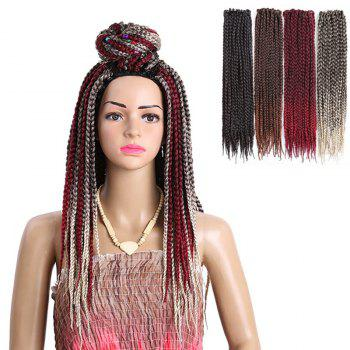 Three-strand Box Braids Long Synthetic Hair Weave - BLACK BLACK