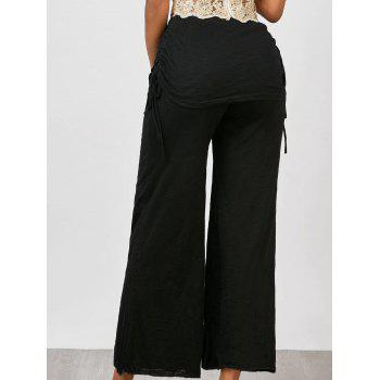 Skirted Drawstring Wide Leg Pants - BLACK XL