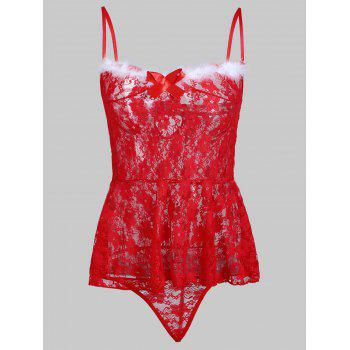 Lace Sheer Slip Christmas Babydoll
