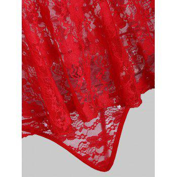 Lace Sheer Slip Christmas Babydoll - RED ONE SIZE