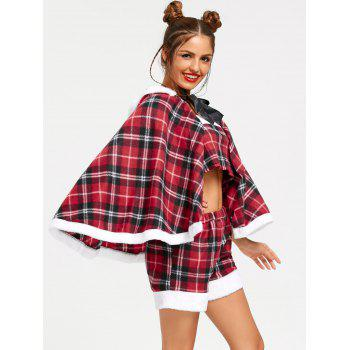 Checked Hooded Christmas Cape - RED RED