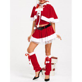 Velvet Skirted Santa Claus Christmas Costume - RED ONE SIZE