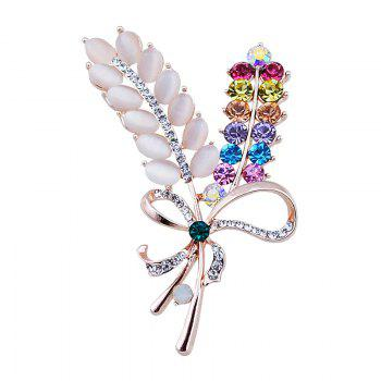 Faux Opal Rhinestone Bows Brooch - COLORMIX COLORMIX