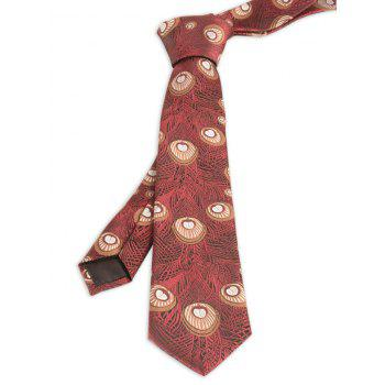 Peacock Feather Printed Skinny Necktie - WINE RED WINE RED