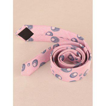 Peacock Feather Printed Skinny Necktie -  PINK