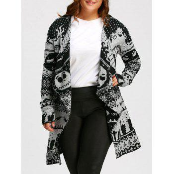 Plus Size Halloween Skull Plus Size Knitted Tunic Cardigan