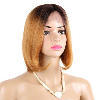 Middle Part Ombre Straight Short Bob Synthetic Lace Front Wig - GOLDEN