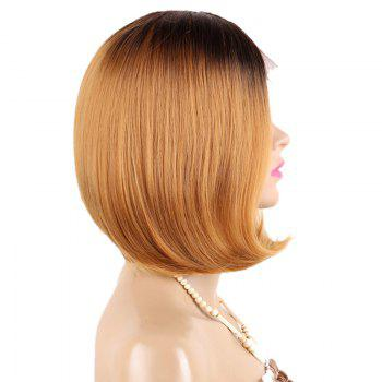 Partie centrale Ombre Straight Short Bob perruque en dentelle synthétique - Or
