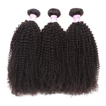 1Pc Peruvian Shaggy Afro Kinky Curly Human Hair Weave - NATURAL BLACK 10INCH