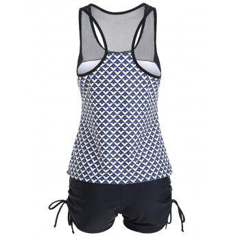 Plus Size Racerback Mesh Panel Tankini Set - 2XL 2XL