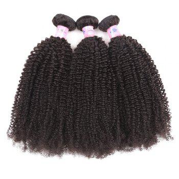 1Pc Peruvian Shaggy Afro Kinky Curly Human Hair Weave - Naturel Noir 24INCH