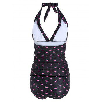 Cranes Print Plus Size Halter Tankini Set - BLACK 2XL