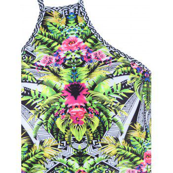 Plus Size Tropical Print One Piece Swimsuit - COLORMIX 2XL