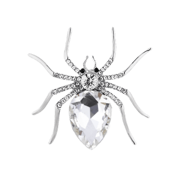 Rhinestone Insert Spider Shape Alloy Brooch -  WHITE