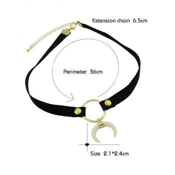 Crescent Moon Charm Choker Necklace - BLACK