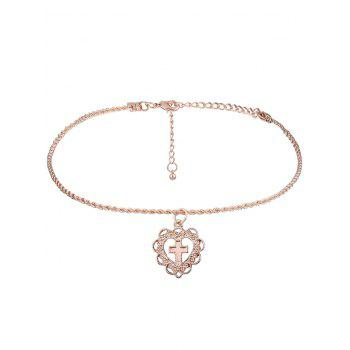 Cross Heart Charm Short Necklace - GOLDEN GOLDEN