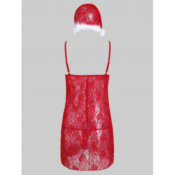 Lace See Through Christmas Dress - RED RED