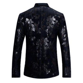 Brocade Flower Print Velvet Blazer - COLORMIX XL