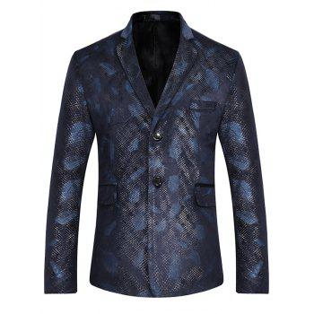 Two Button Feather Print Casual Blazer - BLUE L