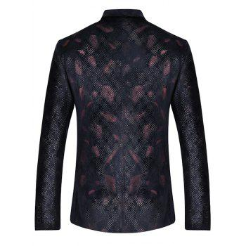 Two Button Feather Print Casual Blazer - RED XL
