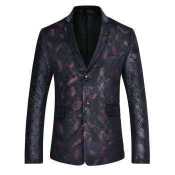 Two Button Feather Print Casual Blazer - RED L