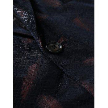 Two Button Feather Print Casual Blazer - RED M