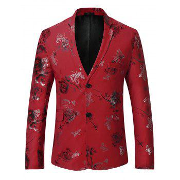 Lapel Metallic Butterfly Floral Printed Blazer - RED S