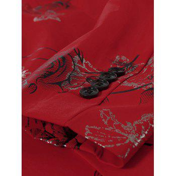 Lapel Metallic Butterfly Floral Printed Blazer - RED RED