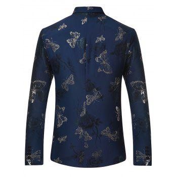 Lapel Metallic Butterfly Floral Printed Blazer - BLUE L