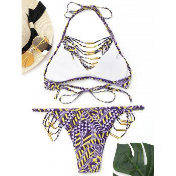 Printed Strappy Halter Bikini Set - PURPLE M
