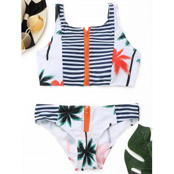 Tropical Bikini Set with Zipper - COLORMIX S
