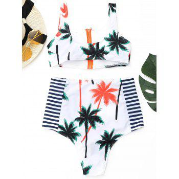 Cropped Tropical Bikini Set with Zipper - WHITE L