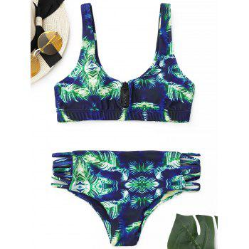 Bralette Bikini Set with Zipper - COLORMIX M