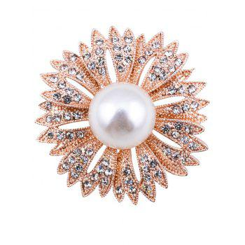 Sparkly Faux Pearl Rhinestone Floral Brooch - GOLDEN GOLDEN