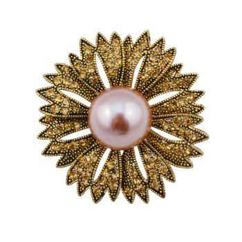 Sparkly Faux Pearl Rhinestone Floral Brooch - BRONZED BRONZED